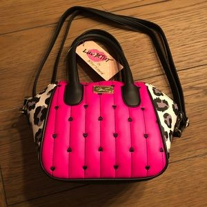 Betsey Johnson Small Hot Pink and Leopard Purse